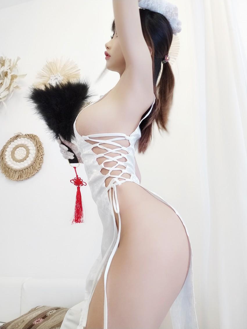 「鬼畜瑶在不在w」 白色旗袍  #美少女日常写真